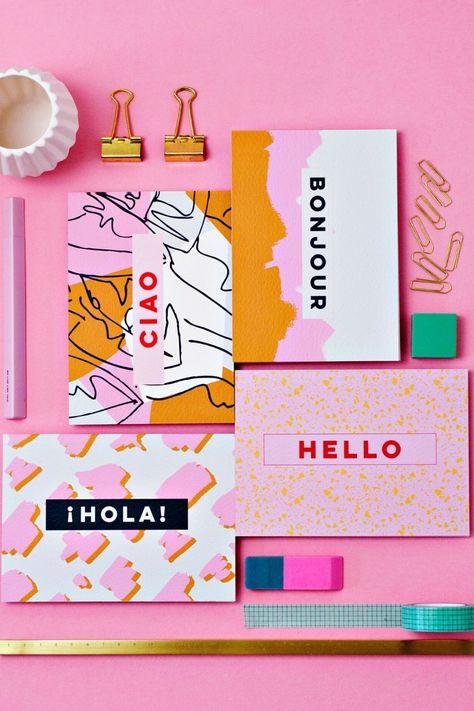 Postcard art with international greetings