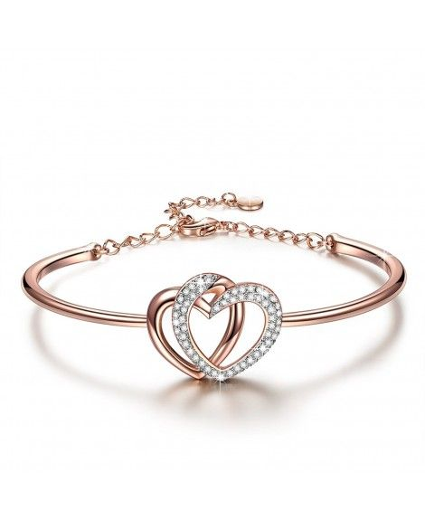 new Women/'s Silver Plated Crystal Love Heart Charm Chain Bracelet Jewelry Gift US