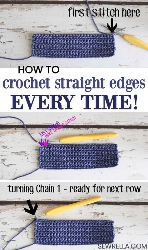 Crochet Crochet Tips - Straight Edges Everytime Have you ever approached a crochet proje., Tips - Straight Edges Everytime Have you ever approached a crochet proje. Crochet Tips - Straight Edges Everytime Have you ever approached a. Crochet Simple, Crochet Diy, Crochet Basics, Learn To Crochet, Crochet Crafts, Crochet Hooks, Diy Crafts, Crochet Ideas, Crochet Edgings