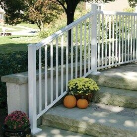 Freedom Cambridge White Deck Stair Rail Lowes Com In 2020 Outdoor Stair Railing Deck Stair Railing Deck Stairs