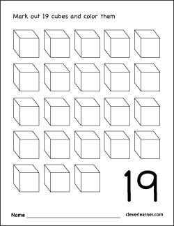 Number 19 Coloring Worksheet For Children Color Worksheets