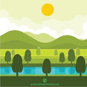 Publicdomainvectors Org Natural Landscape Panorama Nature Vector Landscape Nature