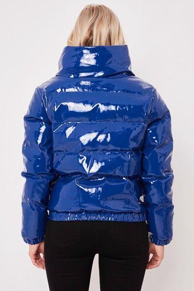 Leah Blue High Shine Puffer Jacket Puffer Jacket Women Blue Puffer Jacket Shiny Jacket