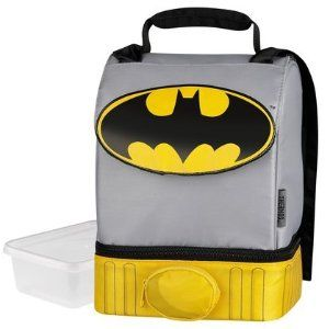 his perfect lunch box... batman of course. I love the cape!