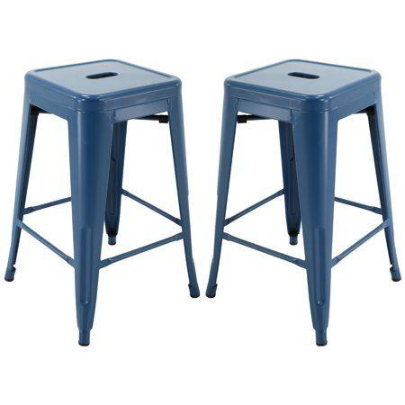 Brage Living Barstool 24 Backless Metal Stools Indigo Blue Set