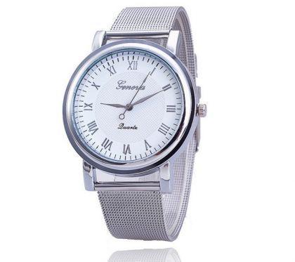 Zegarek Damski Srebrna Bransoleta Tarcza Biala Moda Mesh Strap Watch Accessories Mesh Strap