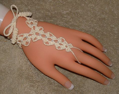 Wedding Barefoot Sandals or Ring Bracelets in Ivory with Pearl Beads. $14.00, via Etsy.