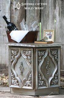 """How to: Aged Silver Finish using Rust-oleum 'Aluminum' paint & Ralph Lauren Glaze tinted with """"Expresso Bean""""."""