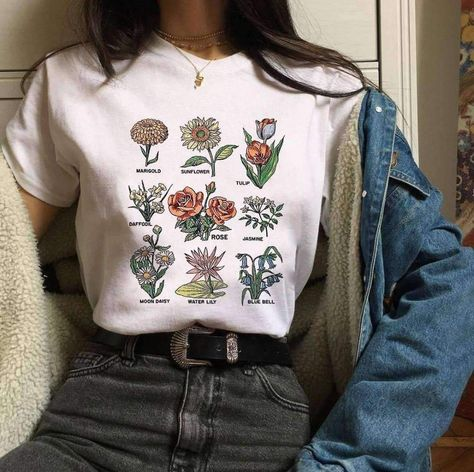 Wildflower Graphic Tees Women Floral Print Summer New Fashion Women tops Large Size Loose Harajuku Short Sleeve O-neck Shirt Indie Outfits, Cute Casual Outfits, Fashion Outfits, Womens Fashion, Fashion Trends, Indie Clothes, 90s Clothes, Fashion Clothes, Fashion Boots