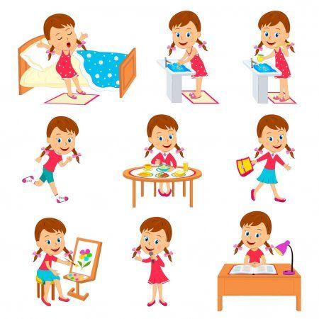 Dibujos Animados Pequena Nina Rutina Diaria Ilustracion Vector Ilustracion De Stock Rutina Diaria De Ninos Emociones Preescolares Rutina Diaria