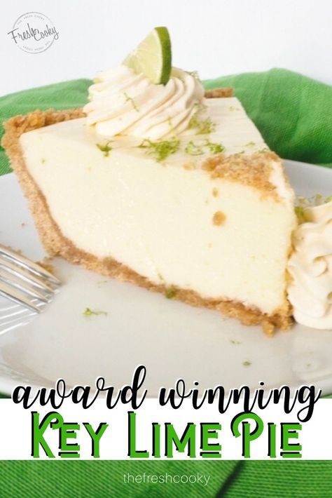 Pie Recipes 29414203805582458 - Creamy, key lime pie with a crunchy graham cracker butter crust. This award winning key lime pie recipe is easy, delicious and you can make it ahead of time! Recipe via The Fresh Cooky Lime Recipes, Sweet Recipes, Salmon Recipes, Award Winning Key Lime Pie Recipe, Key Lime Pie Rezept, Best Key Lime Pie, Key Lime Tart, Best Recipe For Key Lime Pie, Key Lime Pie Recipe Healthy