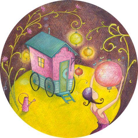Gaelle Boissonnard Carte Postale Ronde Le Jardin De Nuit Art Carte