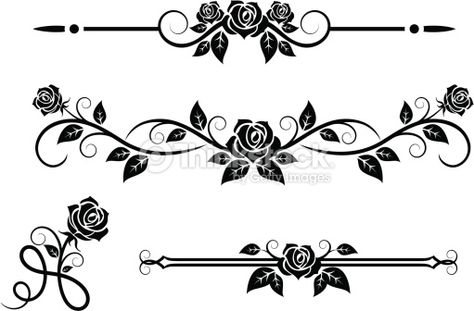 Rose Flowers With Vintage Elements Vector Art. Good for borders, windows.