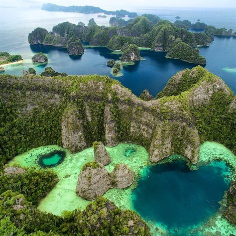 Photo by @TimLaman.  Just back from an amazing trip around the Raja Ampat Islands in Indonesia. These limestone islands near Misool form one of the most unreal landscapes on the planet!  This area is famous for diving, but we were exploring the potential