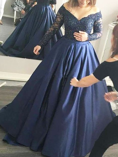 d59dc6329e8 Off-the-Shoulder Beading Satin Sweep Brush Train Ball Gown Prom Dresses