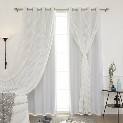 Rosecliff Heights Ravenwood Solid Sheer Thermal Grommet Curtain