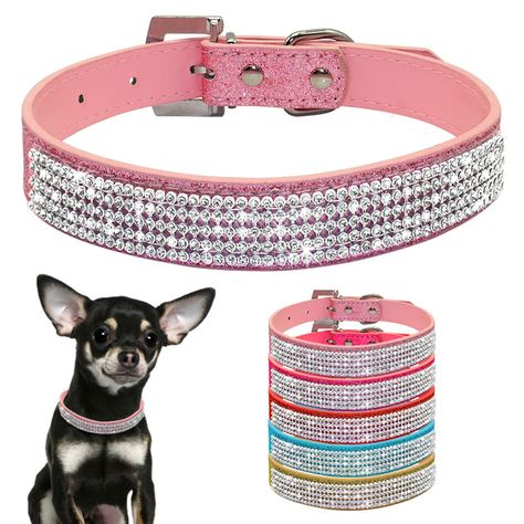 Sparkly Pet Puppy Cat Crystal Diamante Rhinestone Collars Bling Dog Collar Small: 20CM+5CM Adjustable Chain White, Adjustable Elastic Diamonds Doggy Necklace