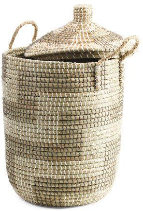 Large Lidded Seagrass Storage Basket Storage T J Maxx