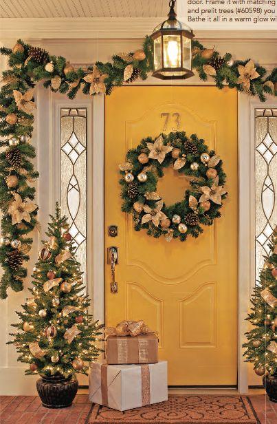 Yellow Xmas Front Porch Holiday Decor Deko Weihnachten