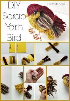 Scrap yarn craft wool bird, Use scraps to make bird project ,kids pom pom craft animal. #craftsforkidstomake