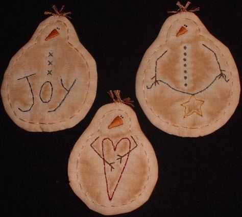 Primitive Stitchery PATTERN 3 Snowman Ornaments Joy Heart Star Banner. $3.00, via Etsy.