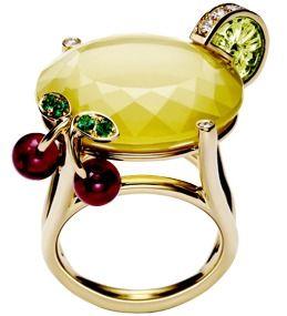 "Piaget / Cocktail ring - ""Lemon Fizz""; yellow quartz, peridot, rubellites, diamonds and emeralds"