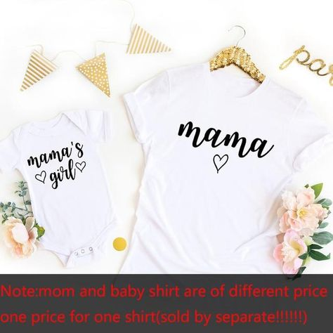 Mommy and Me Shirts Mama Mama's Girl Matching T-Shirts Mommy and Me Outfits Mother Daughter Shirts Gift for New Baby - white / Baby-18M