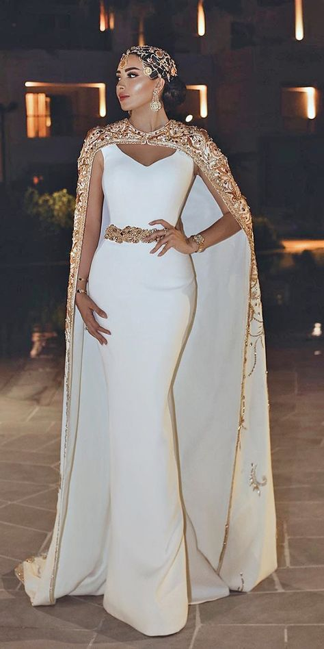 Mermaid Wedding Dresses mermaid wedding dresses simple with cape gold trendy said mhamad official - Women's lace wedding dresses with sleeves is considered to be one of the most relevant models this season.Lace wedding dress is stylish at all times. Elegant Wedding Gowns, Designer Wedding Dresses, Elegant Dresses, Beautiful Dresses, Gorgeous Dress, African Fashion Dresses, African Dress, African Party Dresses, Mermaid Dresses