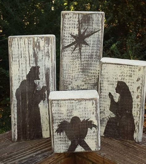 Hand Painted Four Block Nativity - Brown/White - holiday crafts Christmas Wood Crafts, Christmas Nativity, Christmas Signs, Christmas Art, Christmas Projects, Winter Christmas, Holiday Crafts, Christmas Ornaments, Felt Ornaments
