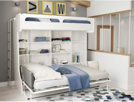 Letto A Castello Twins.Castello Twin Over Full Wall Bunk Bed With Desk Apartment