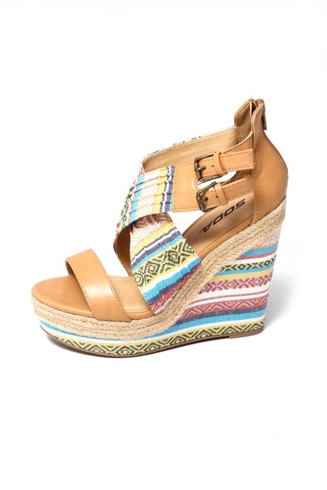 2e7b30e98e Featuring pleated design, criss cross on front vamp with side buckle  accents, espadrilles/Aztec print platform and wedge heel. Padded insole and  rear zipper ...