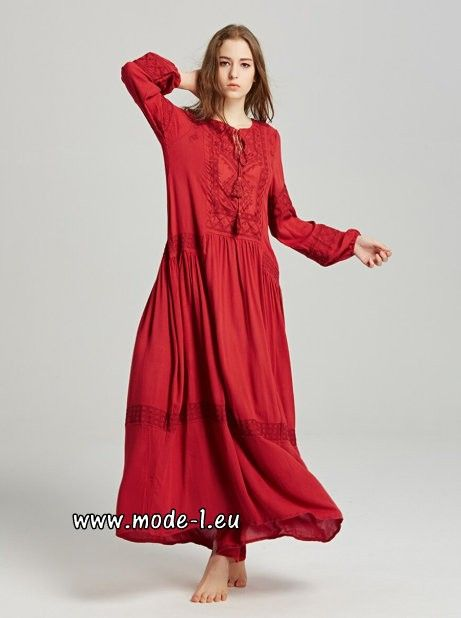 Langarm Baumwoll Boho Maxikleid In Rot Tageskleider Maxikleid Boho Kleider