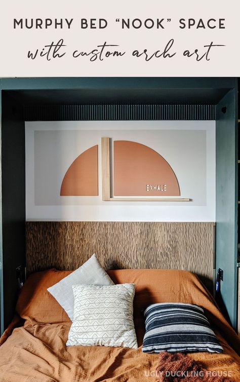 Love this!! This ENTIRE space is DIY. Both the art and the headboard are custom DIY using Minwax products (solid color stain and color wash in barnwood). Art is installed directly on the wall using color block paint and says exhale in a cutout from the arch #arch #colorblock #greencabinets #woodcarving #headboardideas #rust #fallcolors #boho