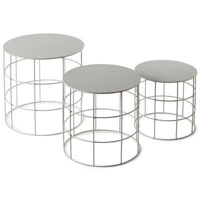 Atipico Reton 3 Piece Coffee Table Set Color Signal White 3 Piece Coffee Table Set Iron Accent Table Round Coffee Table Sets