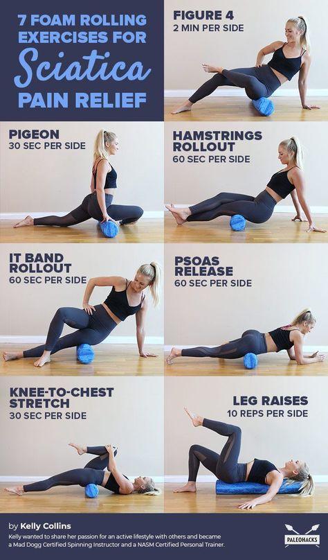 7 Foam Rolling Exercises for Sciatica Pain Relief Mobility Pain Relief Sciatic Nerve Relief, Hip Pain Relief, Sciatic Pain, Hip Workout, Fitness Workouts, Foam Roller Exercises, Sciatica Stretches, Back Pain Exercises, Yoga