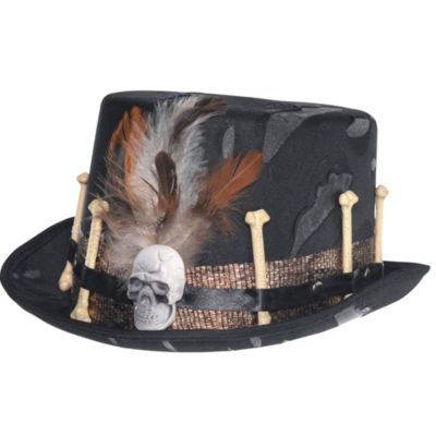 Black Voodoo Top Hat Bones Skull Halloween Mens Fancy Dress Accessory Witch Dr