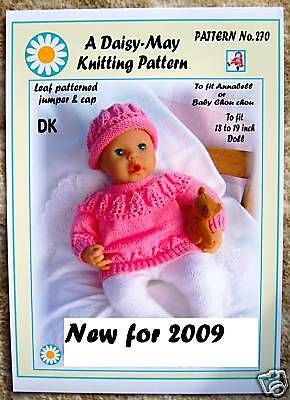 """DOLLS KNITTING PATTERN no 220 for 18/""""//19/"""" inch for Annabell  Val Young"""