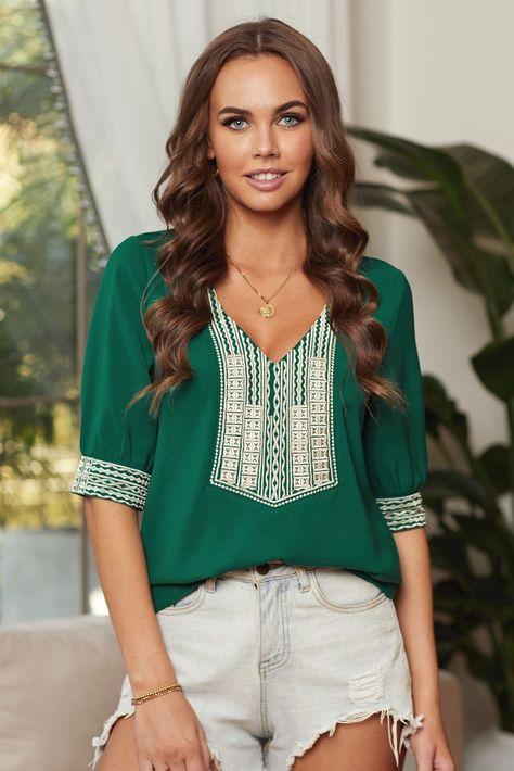 Boho Green Deep V-neck Half Sleeve Embroidery Patch Blouse - Green / XL