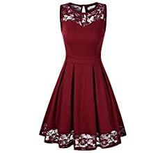 Kojooin Damen Kleider Elegant Spitzenkleid Festliches Cocktailkleid Knielang Armellos Abendkleid Ballkleid Rot Bordeaux Kleider Damen Cocktailkleid Abendkleid