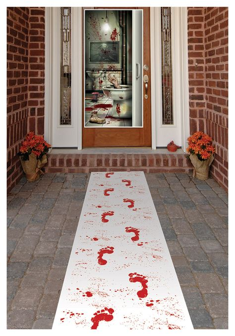 """Blood Footprints Runner    I think it would be creepier if it weren't a runner.  Cut the footprints out and double-sided tape them down going either in or out of the house.  Some """"bloody smears on and around the door would add to the creepy."""