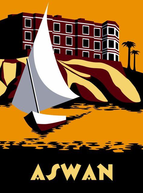 Poster affiche art décoration marine voile enfant voilier felouque dessin Egypte