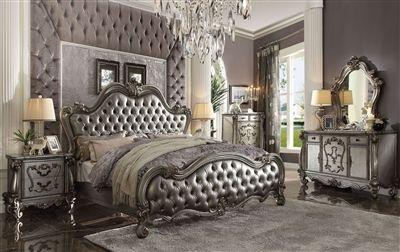 Versailles 6 Piece Traditional Bedroom Set In Antique Platinum