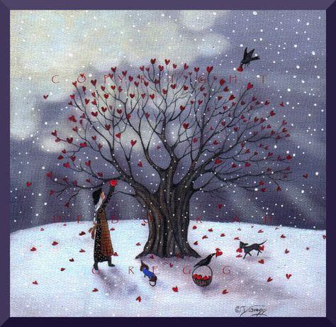 Love Is In Abundance a small Heart Valentine Dachshund Cat Crow Print by Deborah Gregg