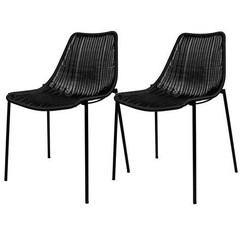 Chaise Chira En Resine Tressee Noire Lot De 2 Taille Taille Unique Chaise Chaise Design Chaise Empilable