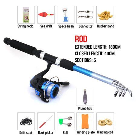 13 in 1 1.8m Fishing Rod and Reel Combo Full Kit Pole