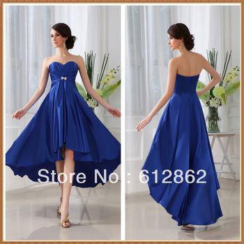 48b0f96648 Strapless Sweetheart Front Short Long Back Royal Blue Bridesmaid Dresses
