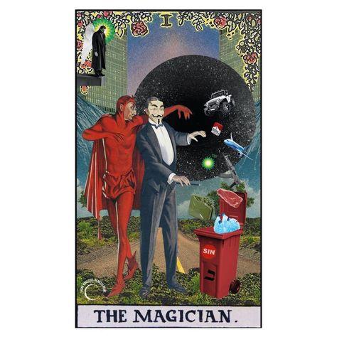 "lilian • art • design on Instagram: ""the magician. 🎩 🃏 #godsavethefuture #tarotcollage #digitalcollage #collage_tarot #collage_community #tarot #thedesignfix #majorarcana…"""