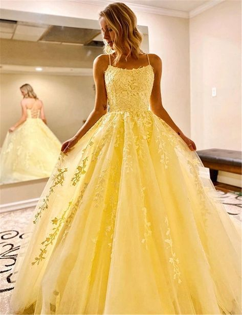Straps Prom Dresses, Pretty Prom Dresses, Beautiful Dresses, Dress Prom, Yellow Prom Dresses, Princess Prom Dresses, Bridesmaid Dresses, Party Dress, Backless Dresses
