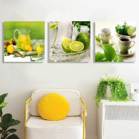 3pcs Modern Lemon Tea Canvas Print Art Painting Wall Picture Home Decor