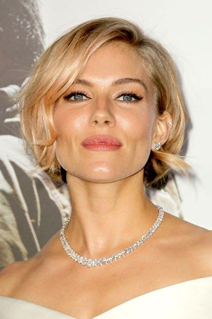 SIENNA MILLER knows what suits her when it comes to her hair, and it's blonde, blonde and more blonde. The actress may have experimented with short crops, Grecian-inspired up-dos and glamorous curls, but she has stuck to her signature shade of caramel throughout.